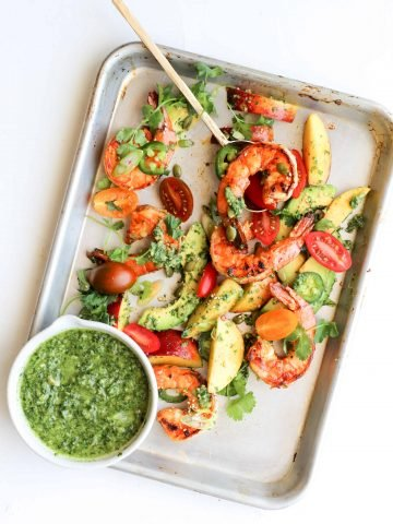 Chipotle Shrimp with Peaches, Avocado and Cilantro-Jalapeño Viniagrette