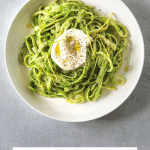 a white bowl with Tagliatelle with Pea Pesto and Creme Fraiche