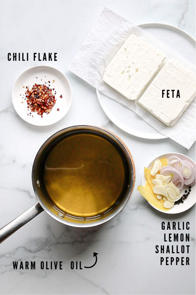 infographic: ingredients for marinated feta