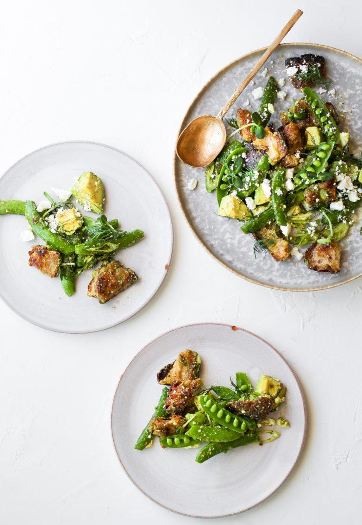 Panzanella Salad with Snap Peas and Feta Cheese