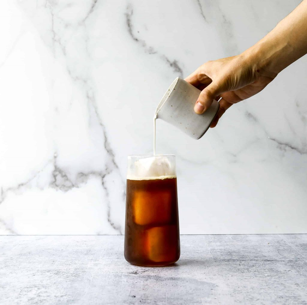 French Press Cold Brew Coffee in a glass with ice