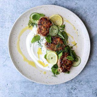 Chicken Koftas with Yogurt and Herb Salad