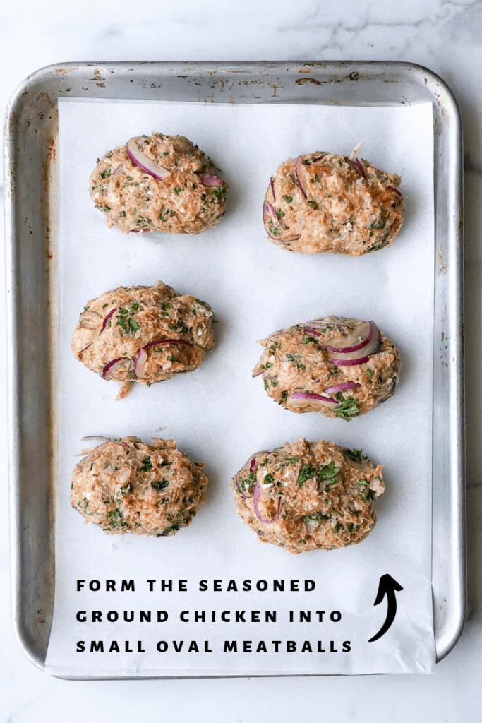 process photo: forming chicken koftas into meatballs