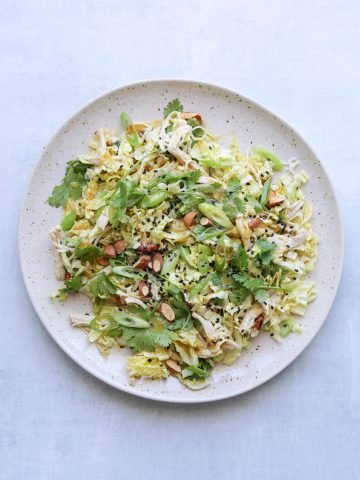 Miso-Ginger Chicken Salad on a white plate