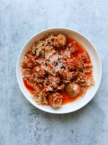 Five-Ingredient Turkey Meatballs with Whole Wheat Pasta