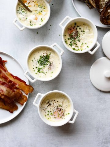 Eggs en Cocotte with Bacon and Toast