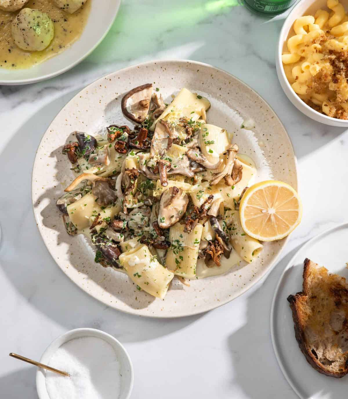 A bowl of Creamy Mushroom and Garlic Pasta on a ceramic plate with a lemon wheel.