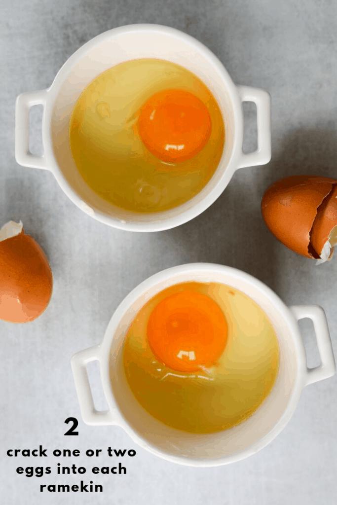 ramekins filled with eggs