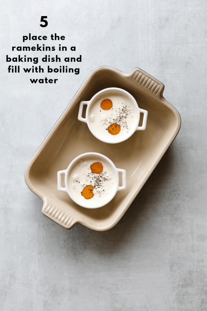 ramekins in a baking dish