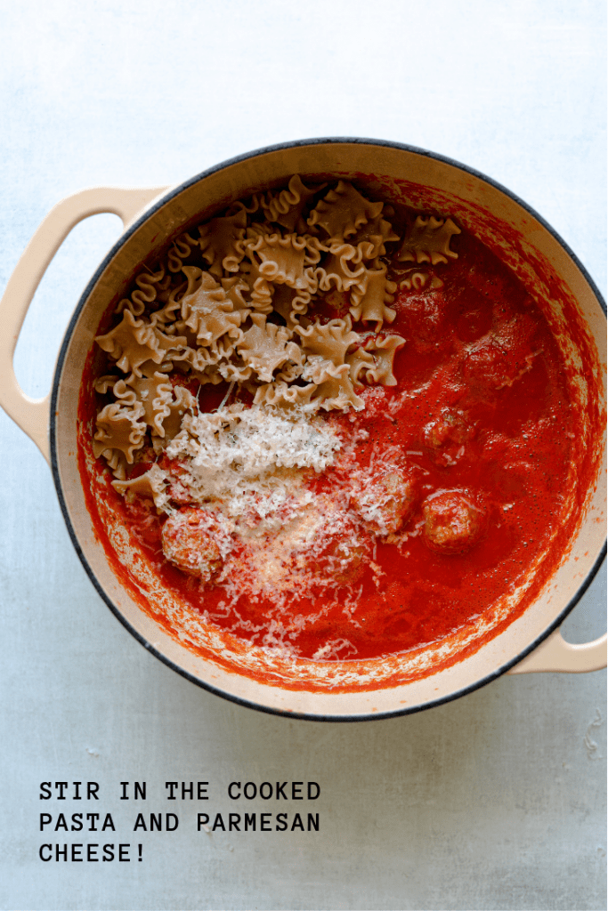 Five-Ingredient Turkey Meatballs with Whole Wheat Pasta in a pot
