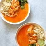 Two Bowls of Coconut Curry Braised Salmon