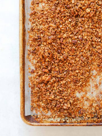 Maple Brown Butter Banana Bread Granola on a baking tray