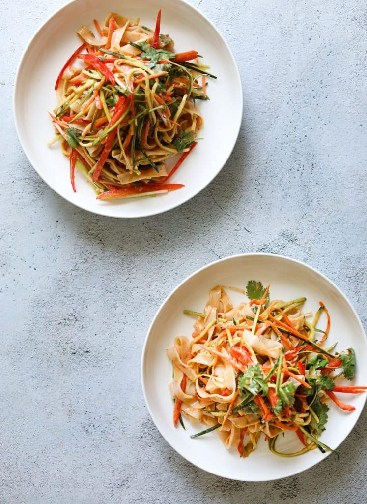 Creamy Coconut Thai Noodle Salad in two white bowls