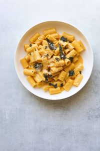 Pumpkin Rigatoni with Crispy Sage in a bowl