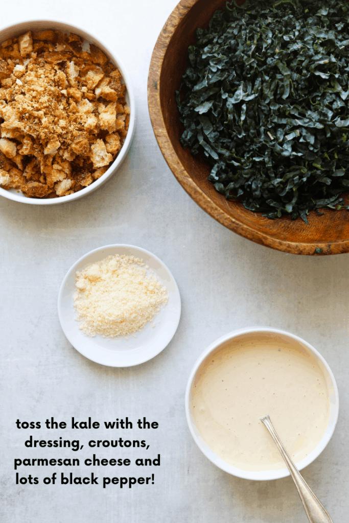 The Perfect Kale Caesar Salad ingredients