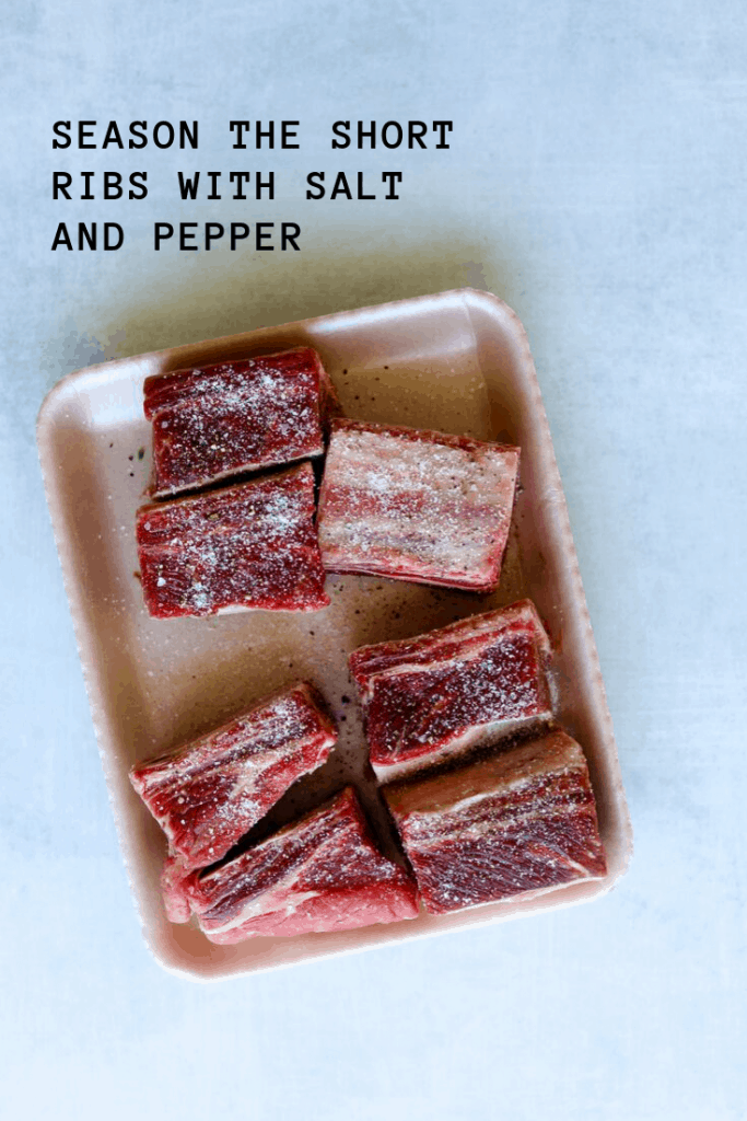 short ribs seasoned with salt and pepper