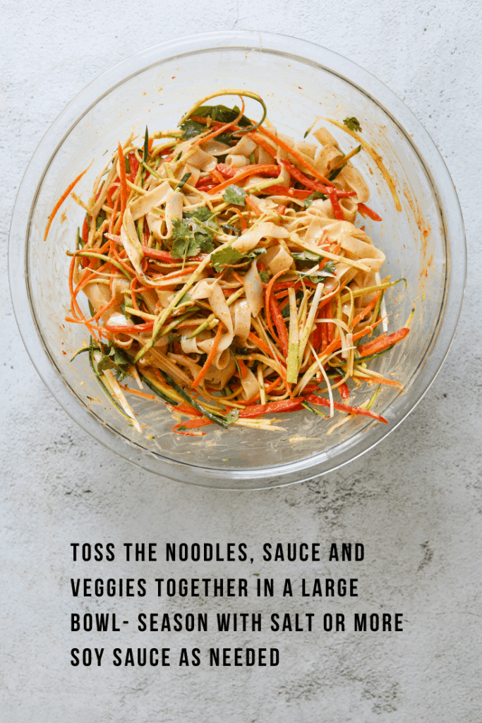 Creamy Coconut Thai Noodle Salad tossed in a bowl