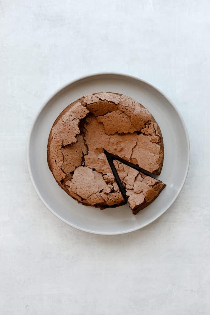 Flourless Chocolate  Hazelnut Espresso Cake in a plate