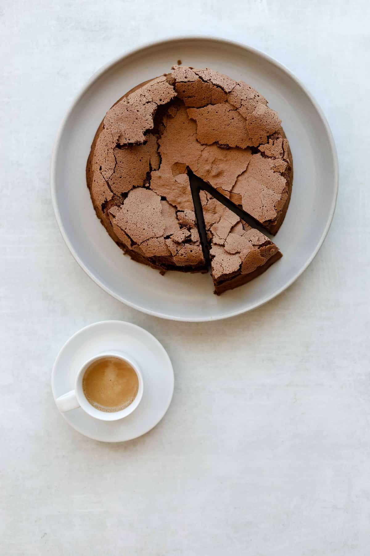 Flourless Chocolate Hazelnut Espresso Cake with a side of espresso