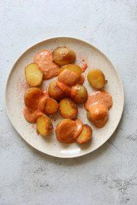 Patatas Bravas on a Plate with Smokey Tomato Aioli