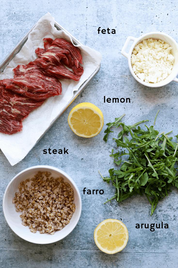Five-Ingredient Steak Salad with Farro, Arugula, and Feta Ingredients