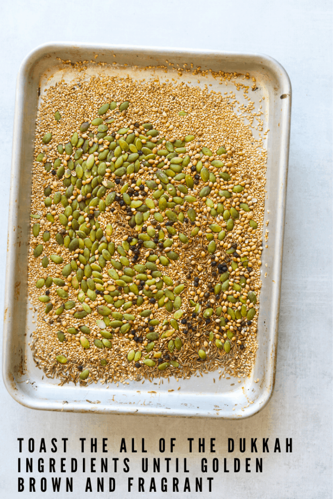dukkah ingredients being toasted