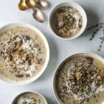 four bowls of Wild Rice and Mushroom Soup (Dairy-Free)