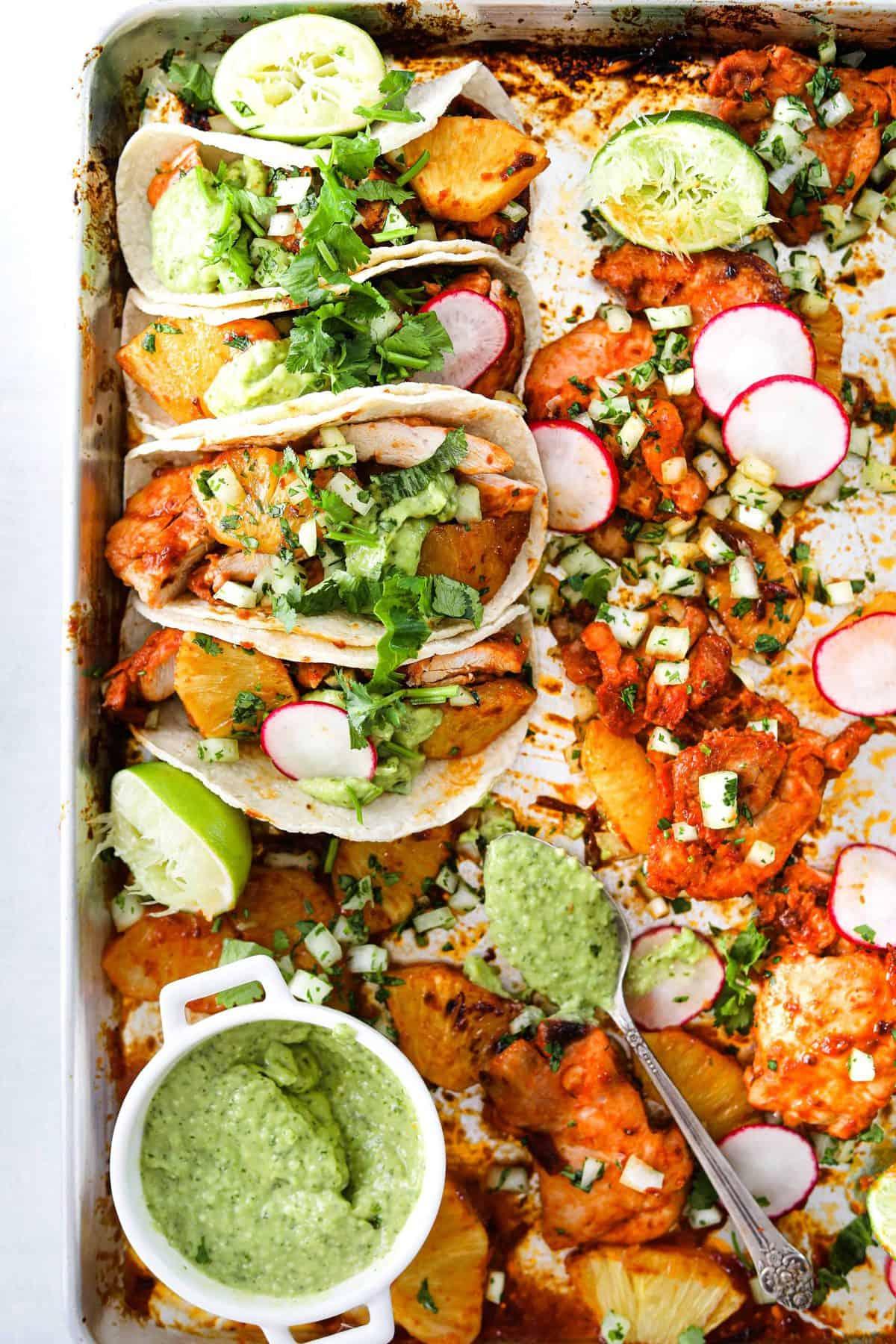 Sheet Pan Chicken Tacos Al Pastor