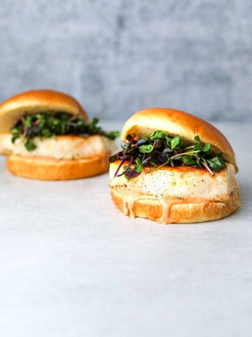 Two halibut burgers on a blue background