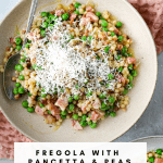 Fregola with Pancetta, Peas and Parmesan