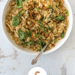 """Quinoa Fried """"Rice"""" with Crispy Garlic and Ginger"""