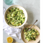 two bowls of Spring Couscous Salad with Feta, Avocado & Herbs