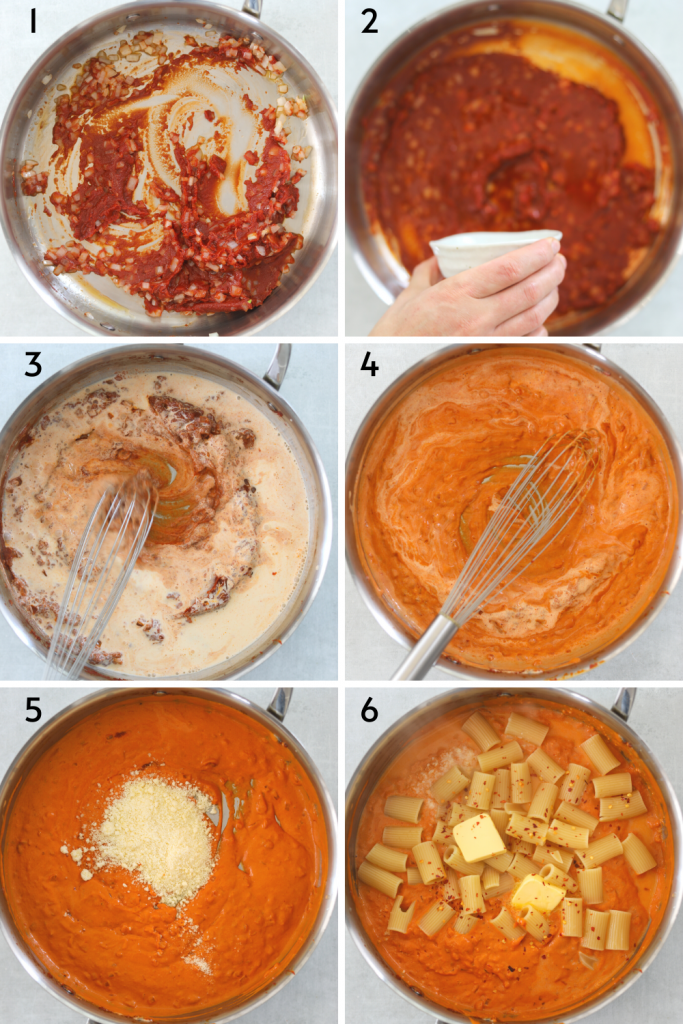 a collage of six images displaying step by step recipe instructions