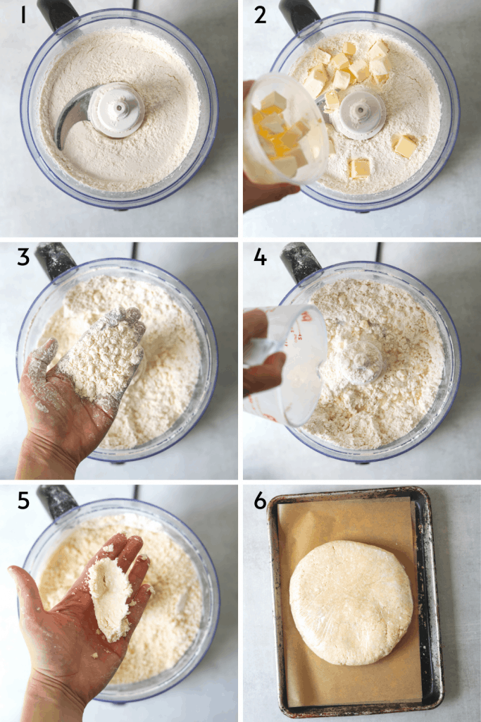 a collage of recipe steps for making flakey pie crust