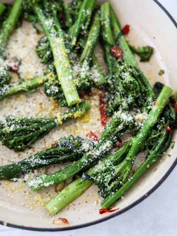 Broccolini with Calabrian Chilis and Garlic in a cast iron pot