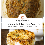 two bowls of vegetarian french onion soup