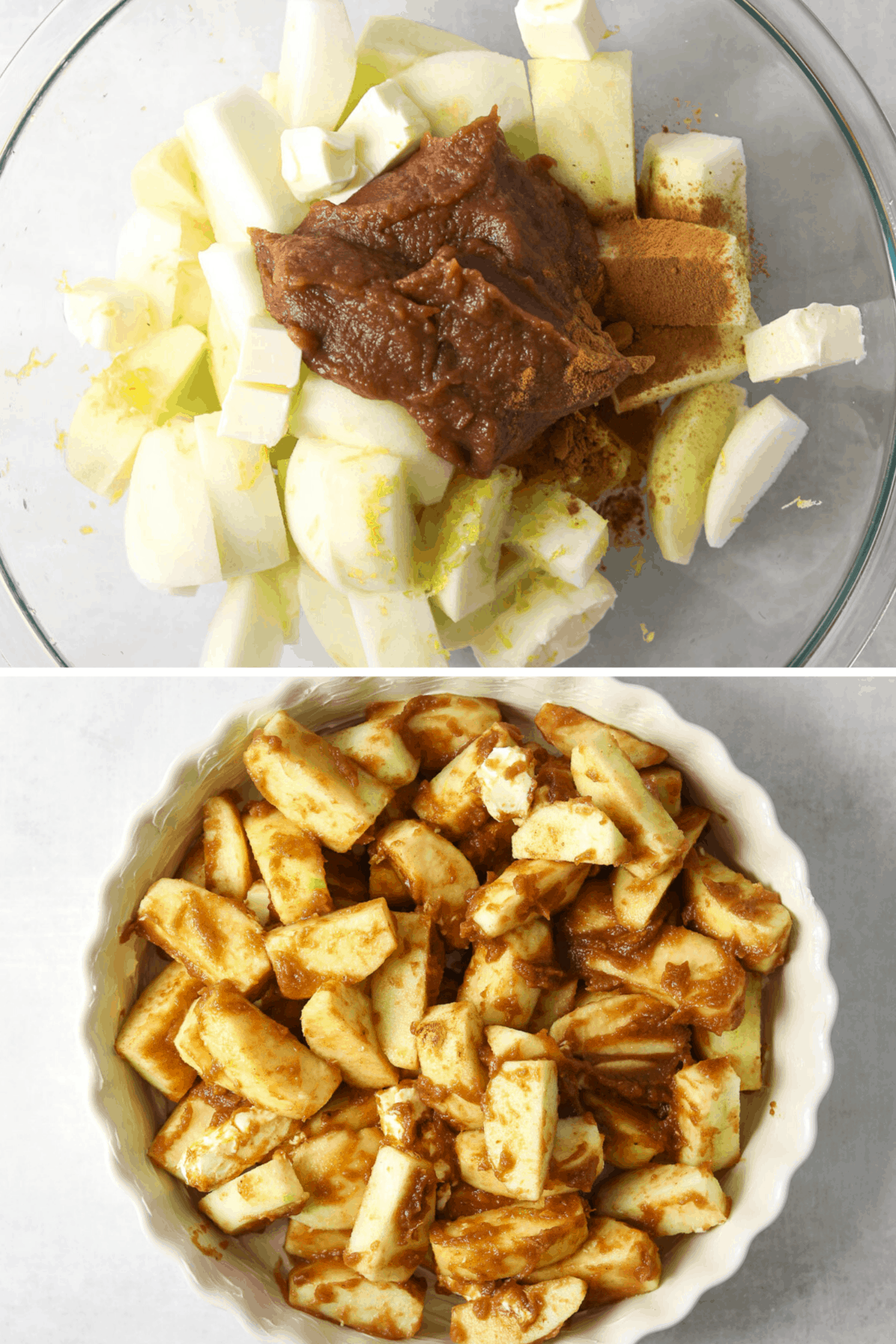 chopped apples in a bowl with apple butter, cinnamon and butter