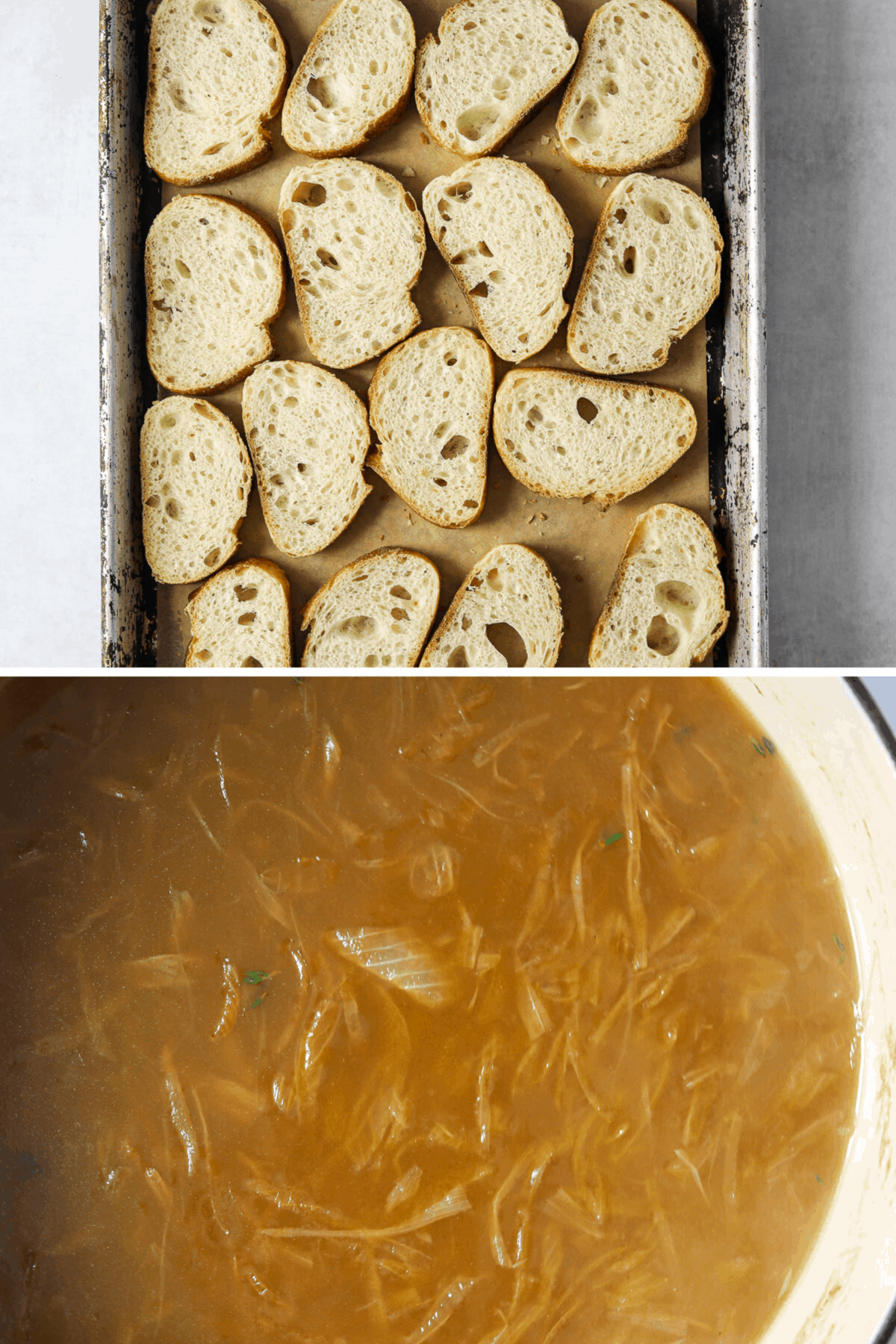 sliced baguette lined up on a baking tray and french onion soup in a cast iron pot