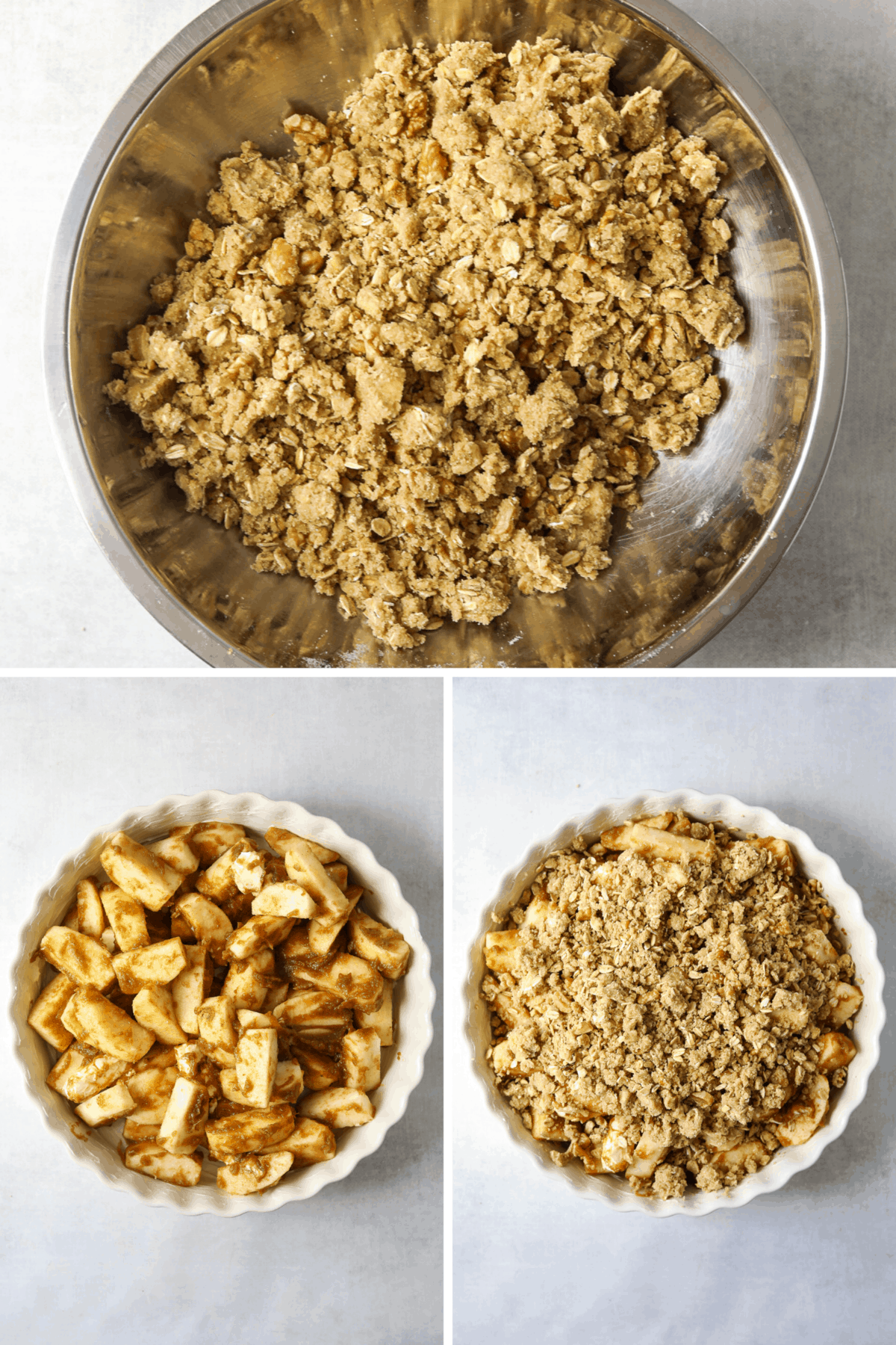 crumble topping ingredients in a bowl and and assembled (unbaked) apple crisp in a white baking dish