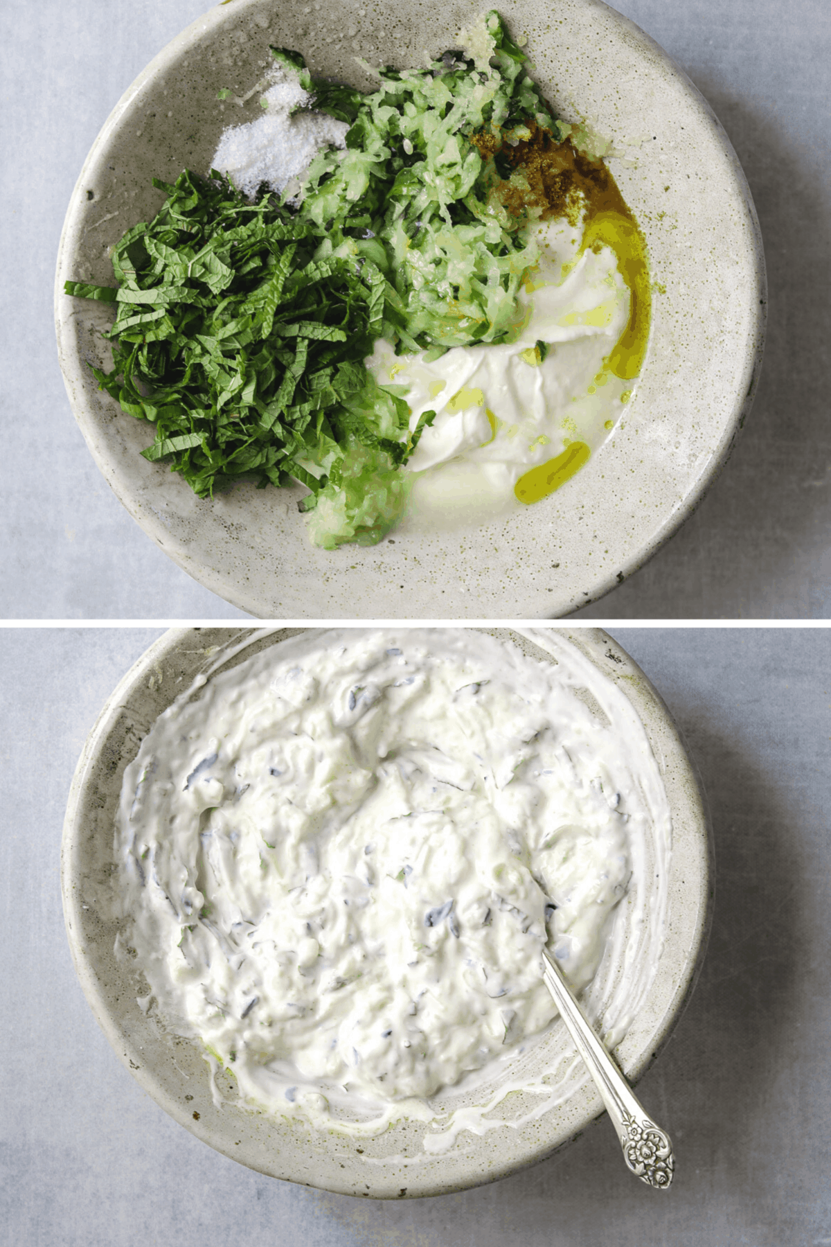 yogurt, grated cucumber, and chopped mint in a small ceramic bowl and a bowl of cucumber raita