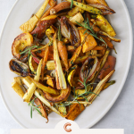 Maple and Cumin Roasted Root Vegetables on an oval serving platter