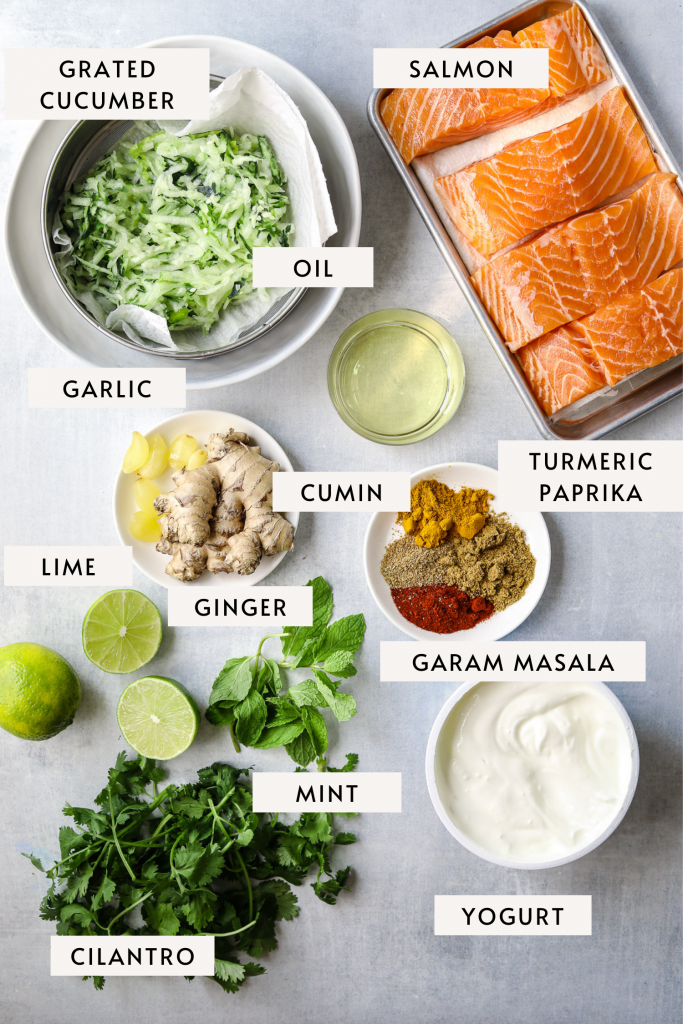 individual recipe ingredient: four salmon filets, grated cucumber, spices, garlic, ginger, yogurt, lime and mint