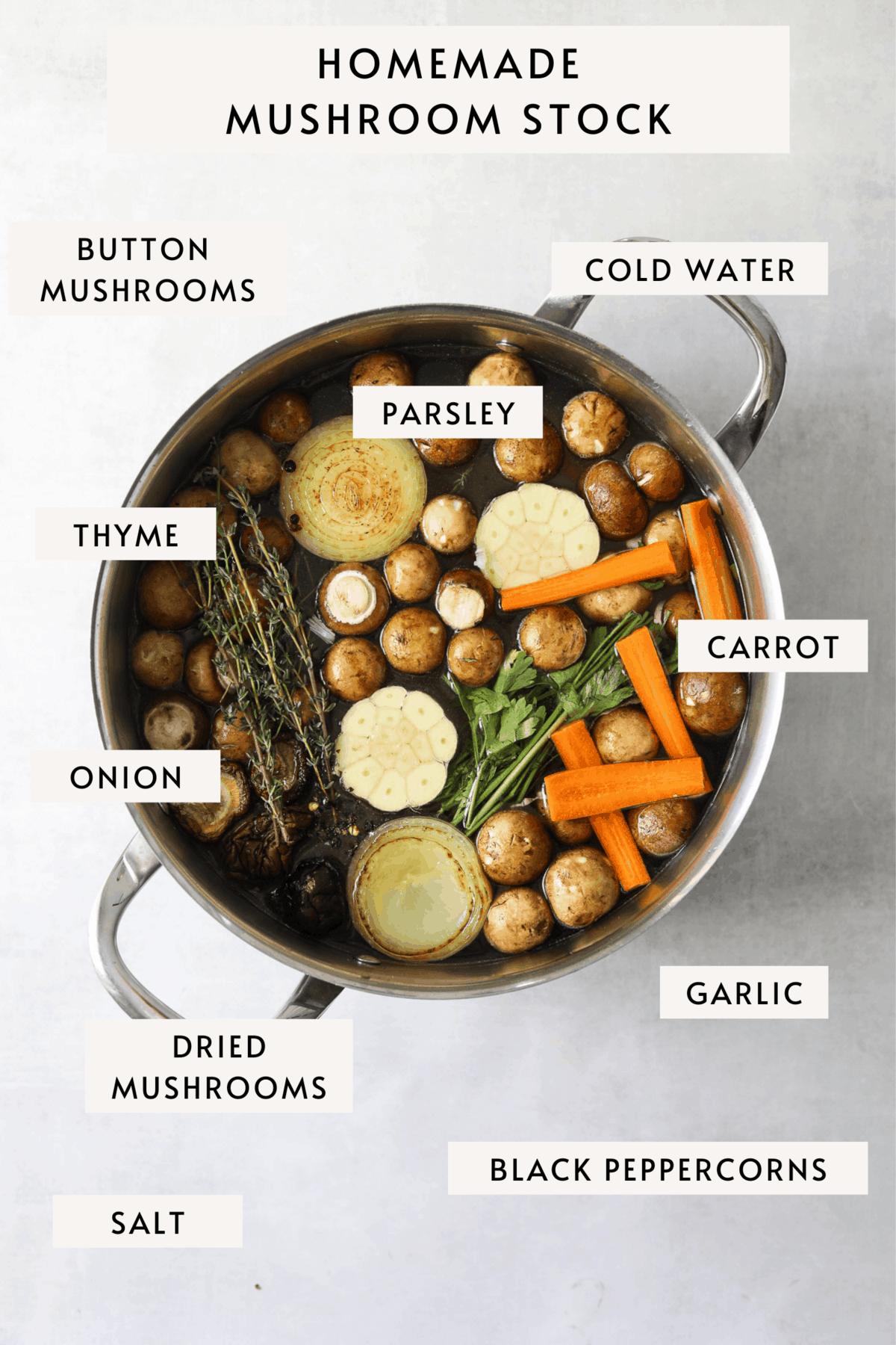mushroom stock in a stock pot: mushrooms, garlic, onion, thyme and carrots