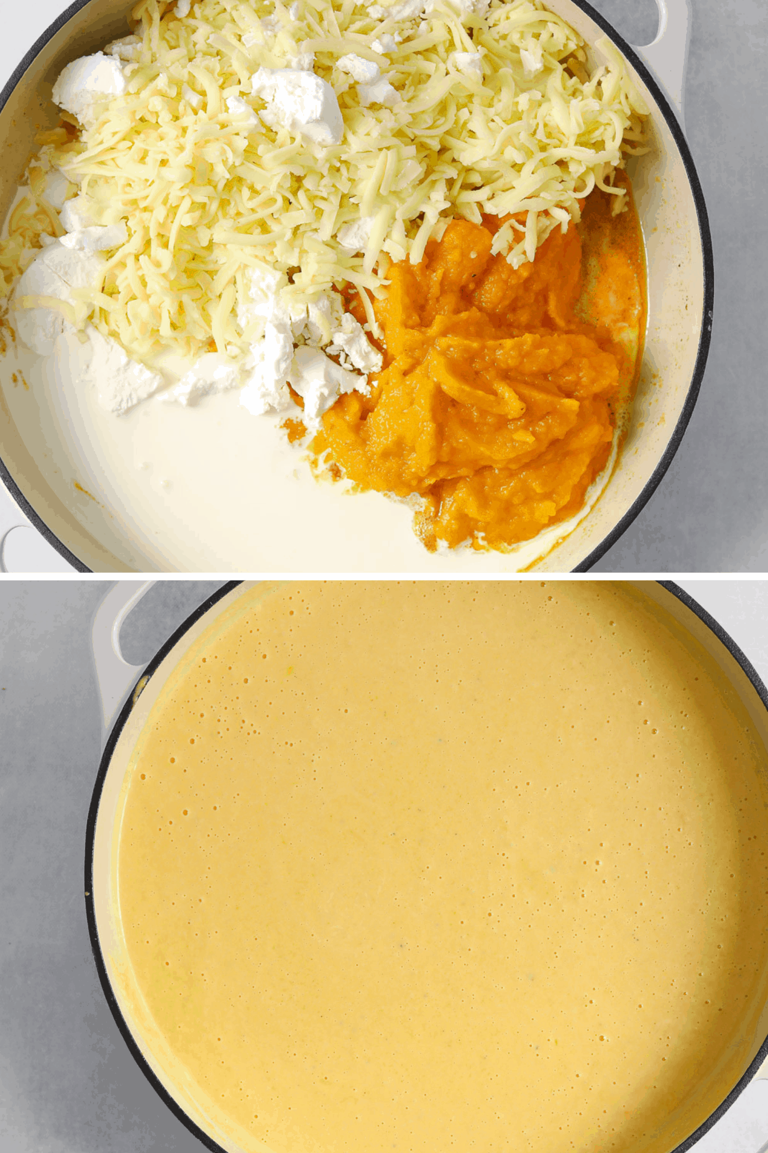 a large pot filled with cheddar and goat cheese, butternut squash puree, cream and a large pot with cheese sauce