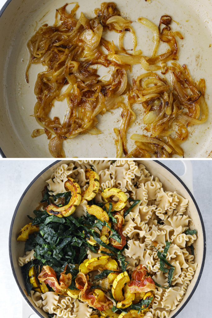 onions caramelizing in a pot and a pot of pasta with kale and roasted squash