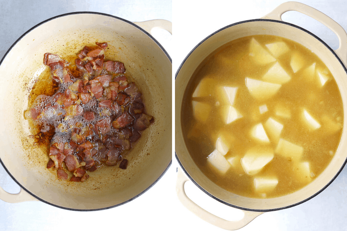 two beige dutch ovens, one with bacon frying the other with potatoes cooking in soup base.