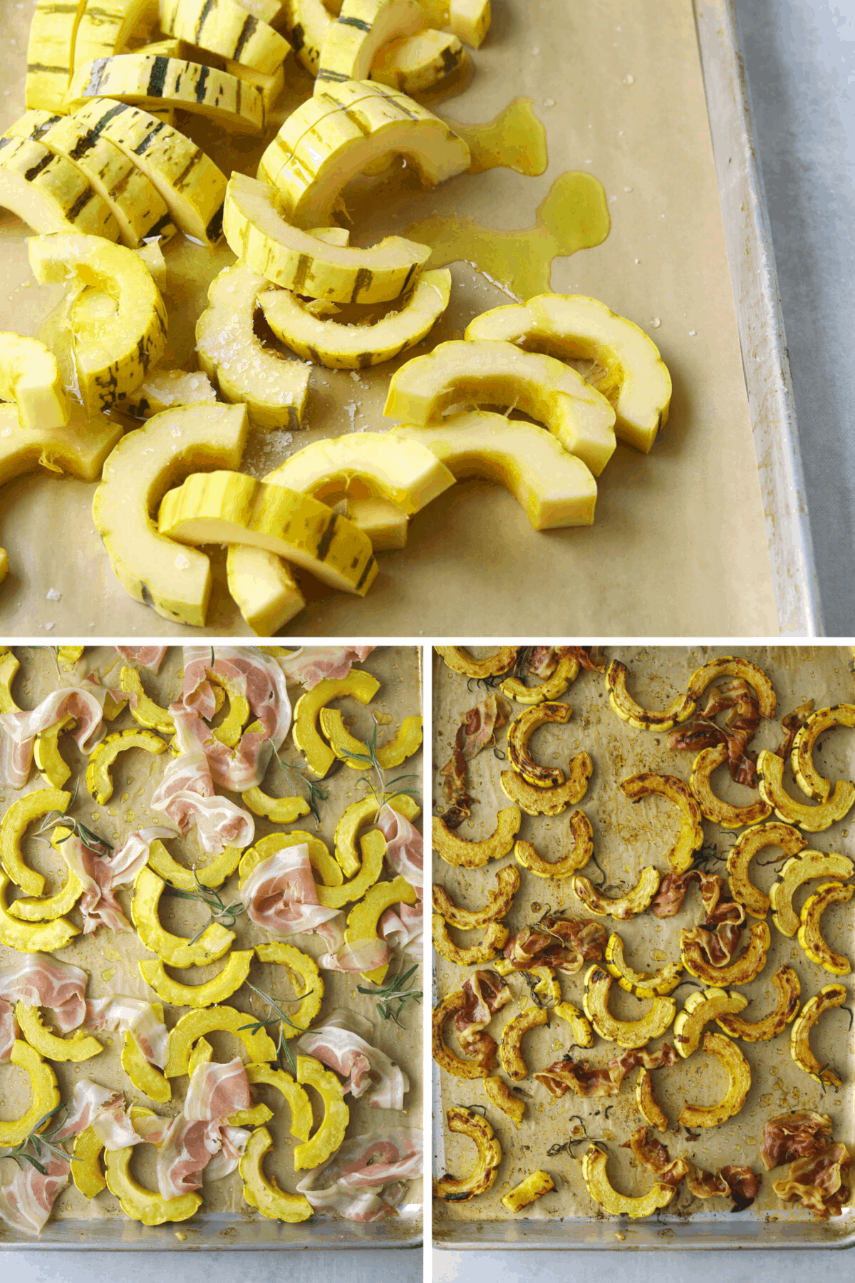 delicata squash and pancetta roasting on a baking tray