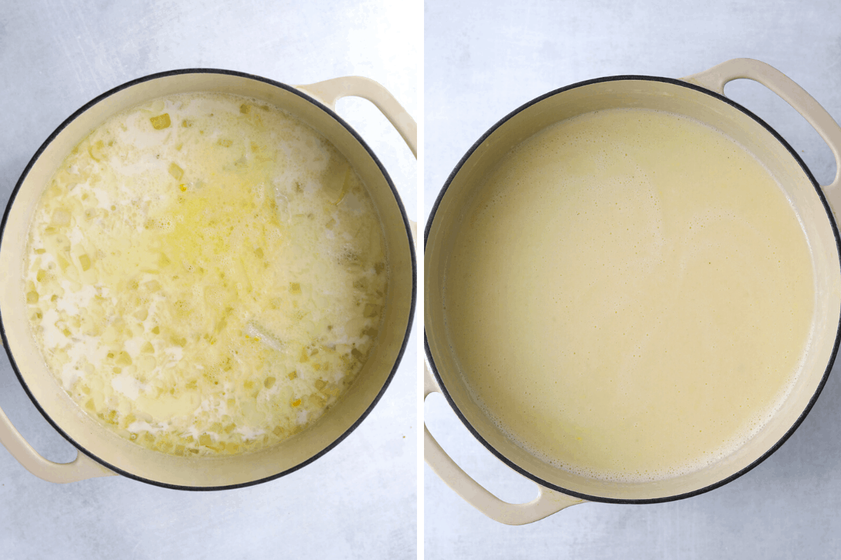 two dutch oven pots one with chunky potato soup the other with smooth, blended potato soup.