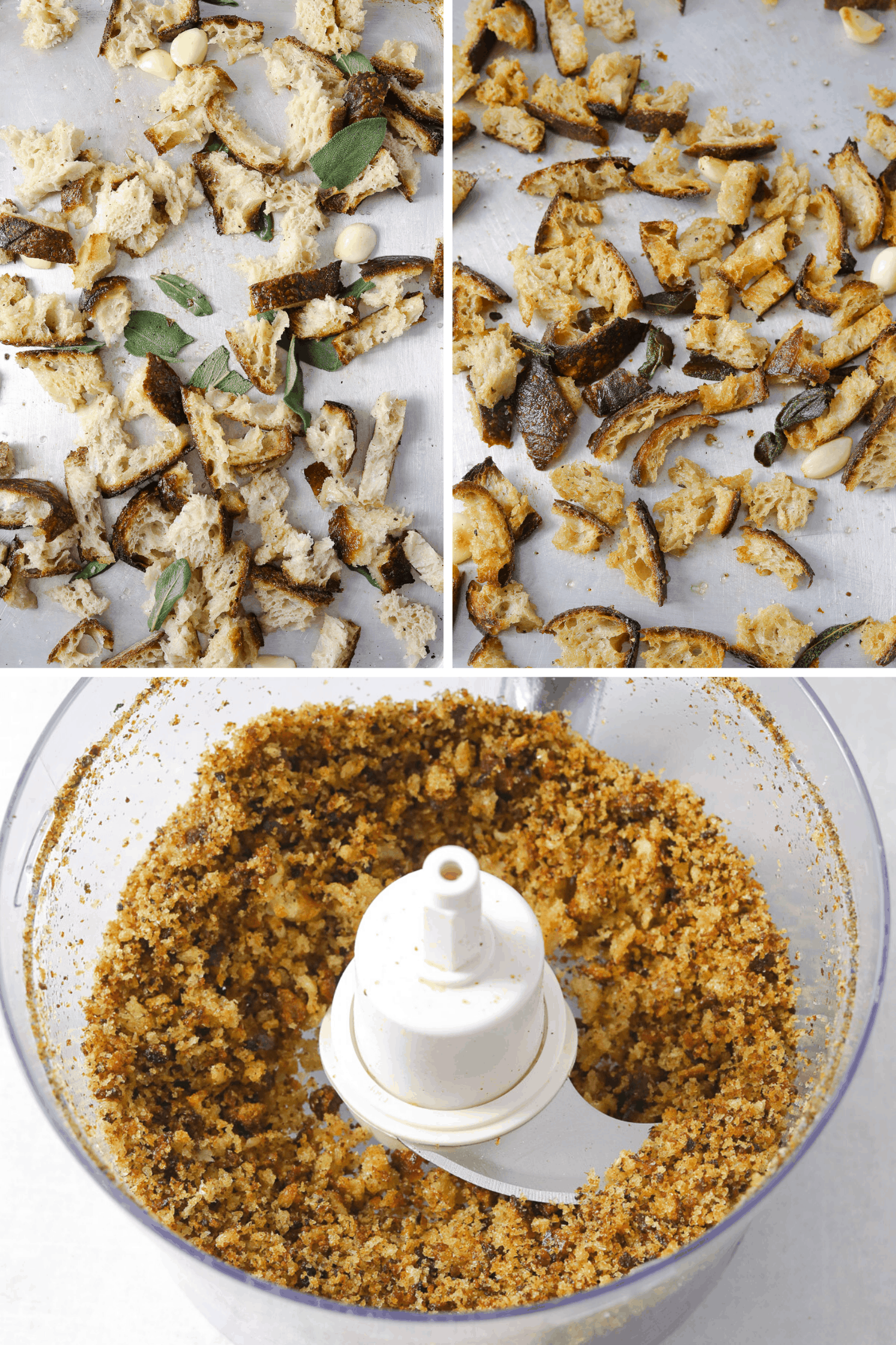 a collage of three photos: raw bread on a baking tray, toasted bread on a baking tray and bread crumbs in a food processor