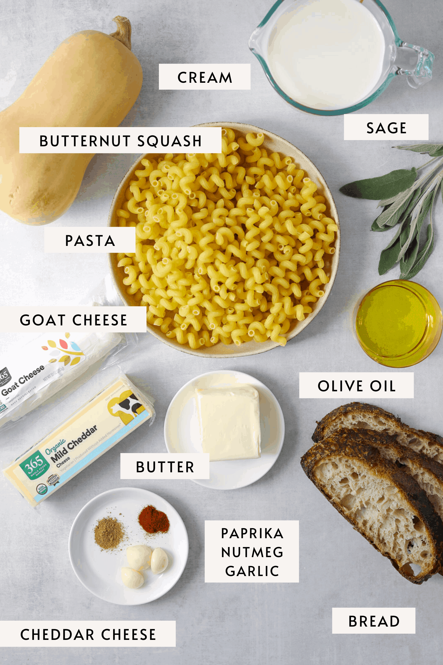 recipe ingredients individually labeled, dried pasta, butternut squash, goat cheese, sage, cream etc.